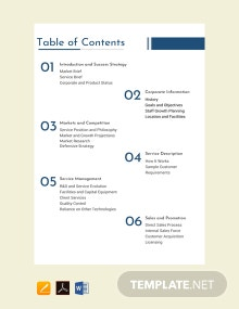 Free Business Plan Table of Contents Template