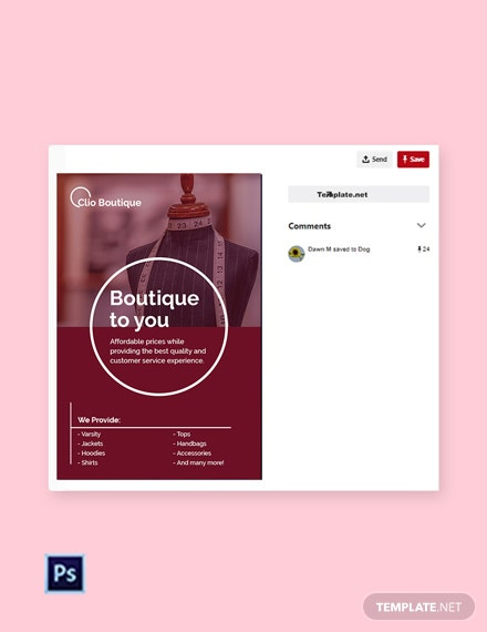 Free Boutique Pinterest Pin Template