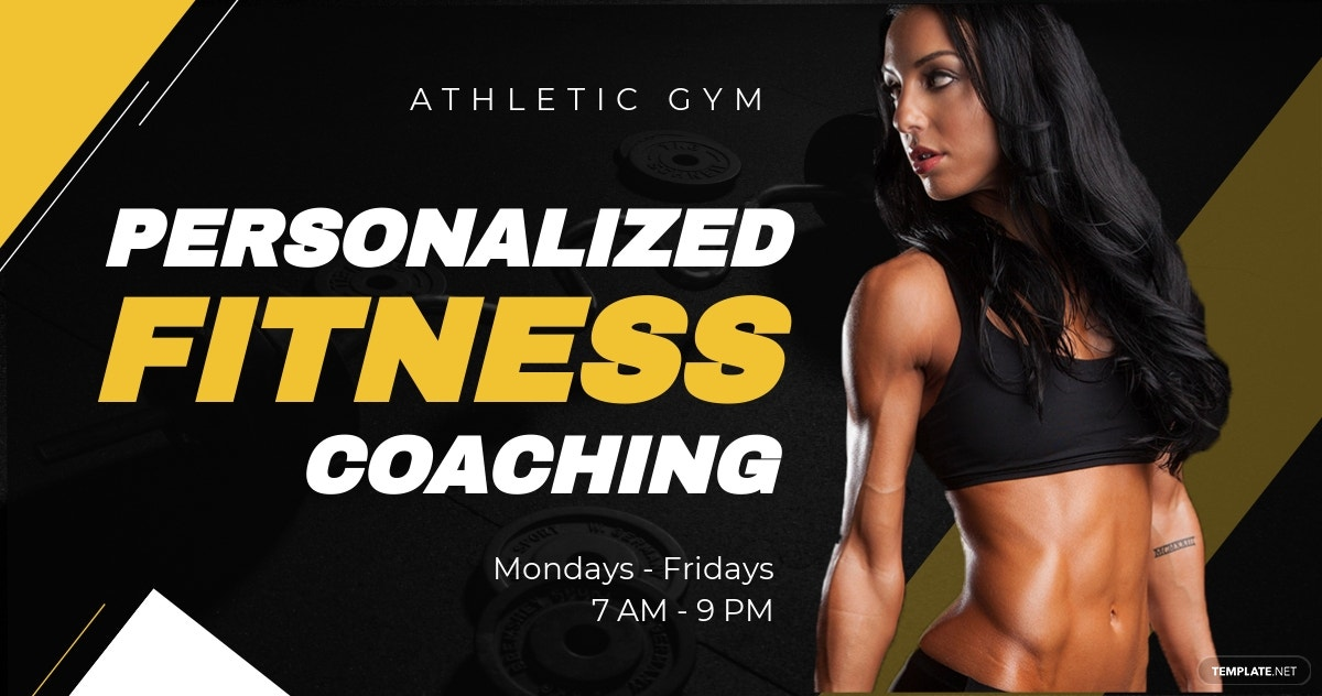 Free Fitness Trainer Coach Facebook Post Template.jpe