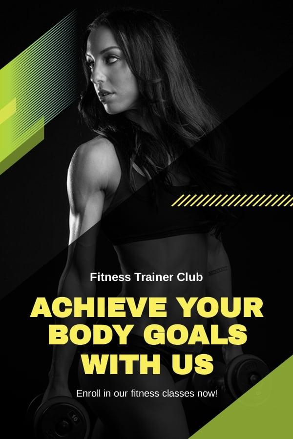 Fitness Trainer Coach Pinterest Pin Template [Free JPG] - PSD
