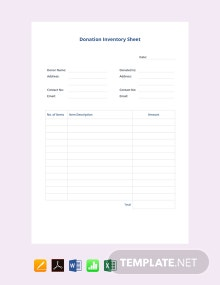 Free Donation Inventory Template