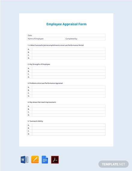 Free Sample Employee Appraisal Form