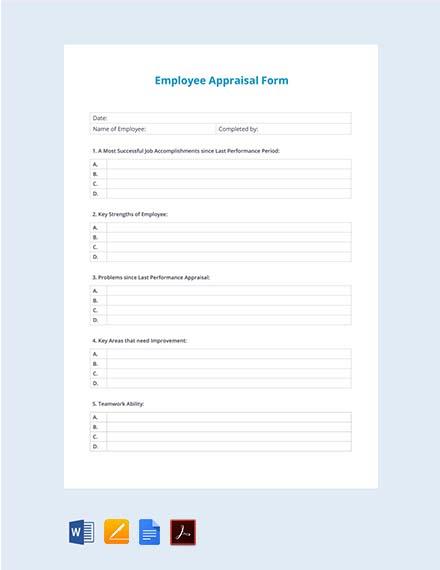 Sample Employee Appraisal Form Template