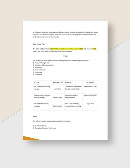 Sample Advertising agency startup plan