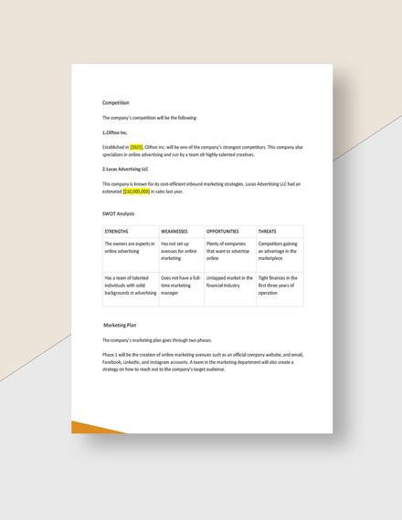 Advertising agency startup plan Download