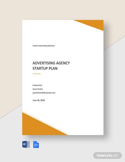 Advertising Agency Startup Plan Template