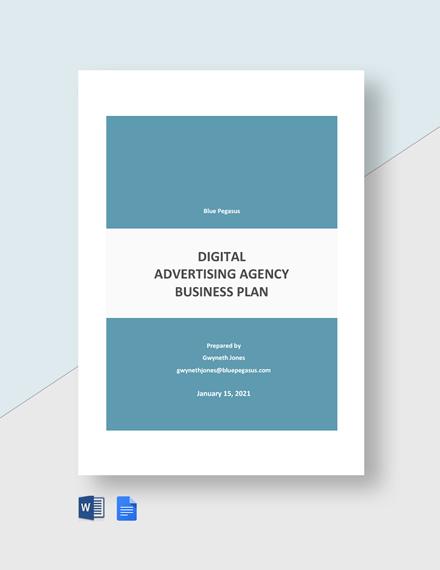 Digital Advertising Agency Business Plan Template