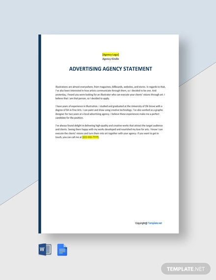 Sample Advertising Agency Statement Template