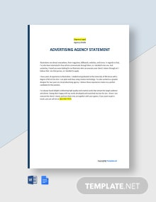 Free Sample Advertising Agency Statement Template