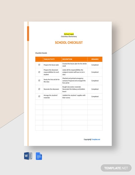 Free Sample School Checklist Template