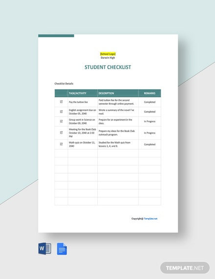 Free Sample Student Checklist Template