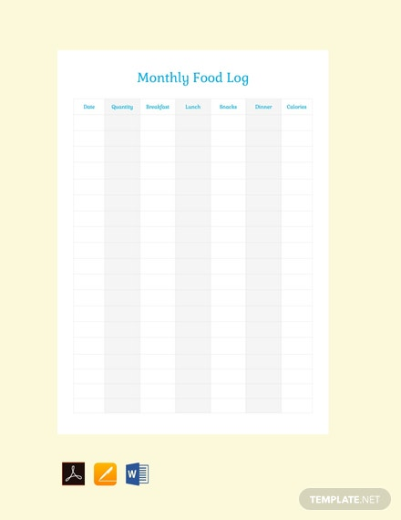 Free Monthly Food Log Template