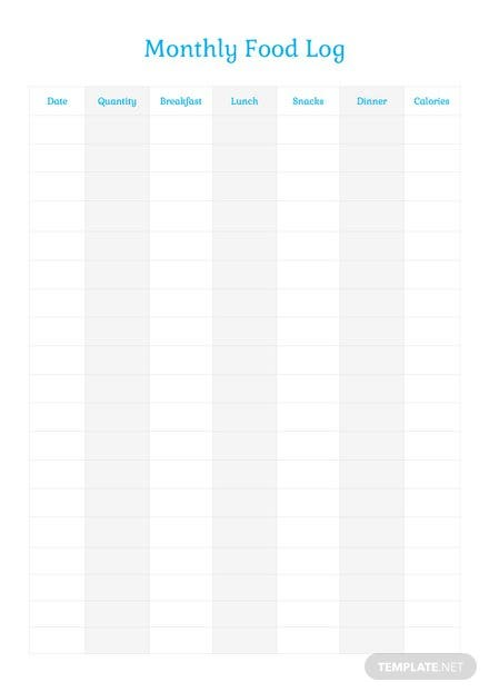 Monthly Food Log Template