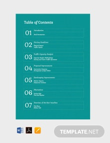 Free Generic Table of Contents Template