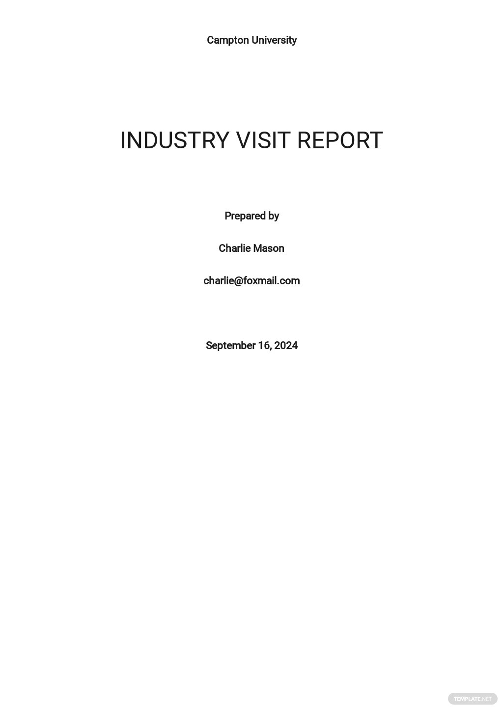Free Simple Industry Visit Report Template.jpe