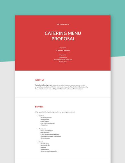 Catering Menu Proposal Template