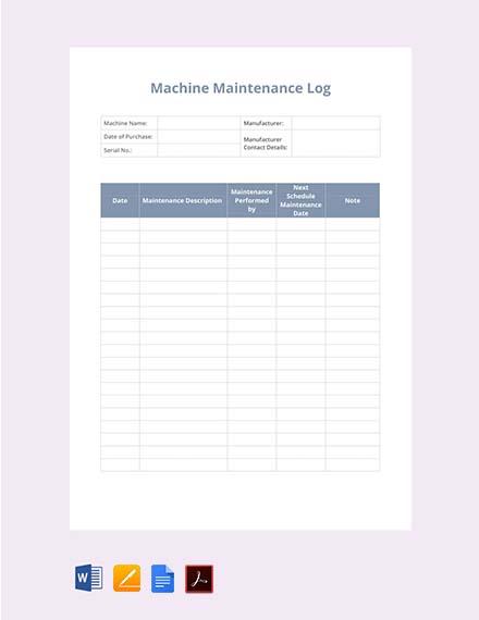 Free Machine Maintenance Log Template