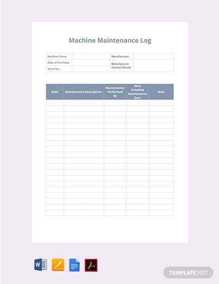 free machine maintenance log template download 239 sheets in word