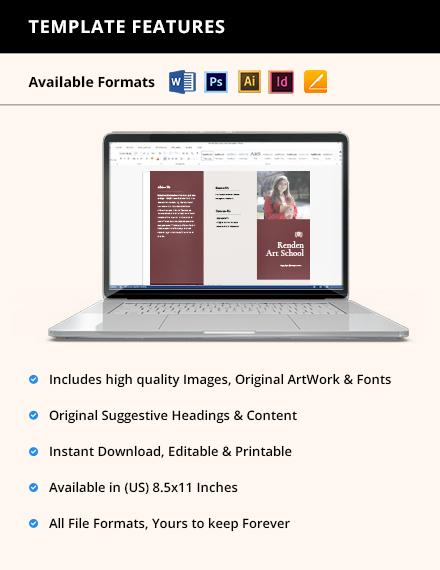 Free Elegant Trifold School Brochure Template format