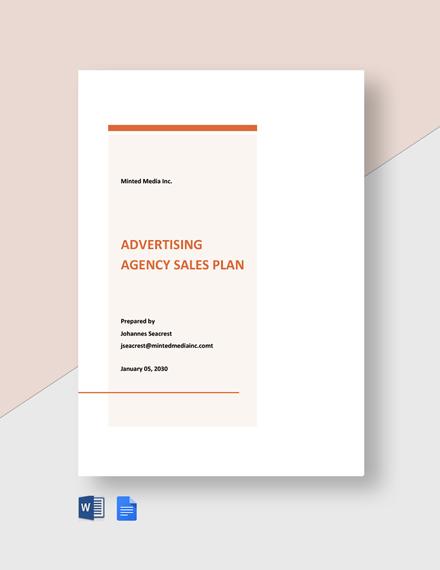 Advertising Agency Sales Plan Template