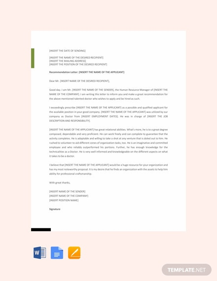 Free Doctor Recommendation Letter