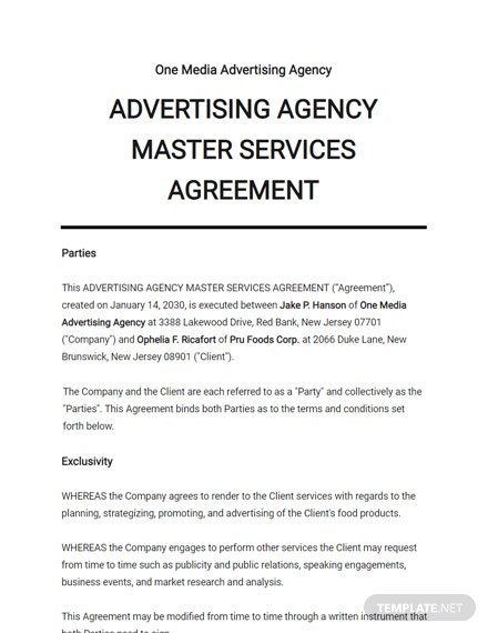 Advertising Agency Master Services Agreement Template