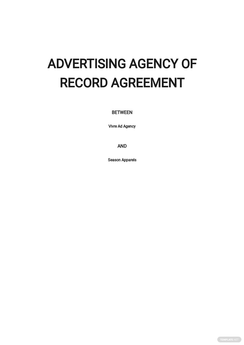 Advertising Agency of Record Agreement Template