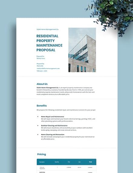 Property Maintenance Proposal Template