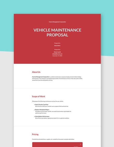 Vehicle Maintenance Proposal Template