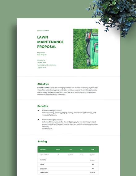 Lawn Maintenance Proposal