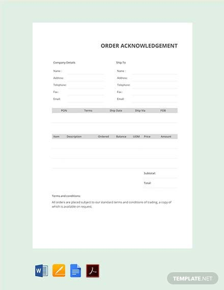 Free Order Acknowledgement Template