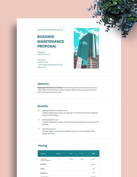 Building Maintenance Proposal Template