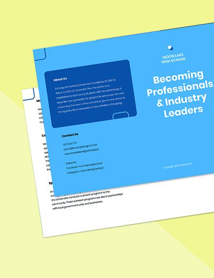 Free Elegant Bifold School Brochure Template Printable