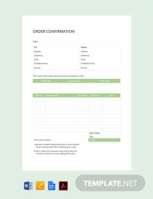 Free Simple Order Confirmation Template