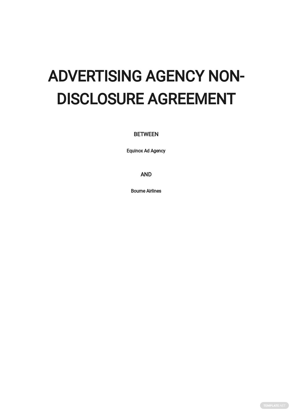 Advertising agency Non Disclosure Agreement Template