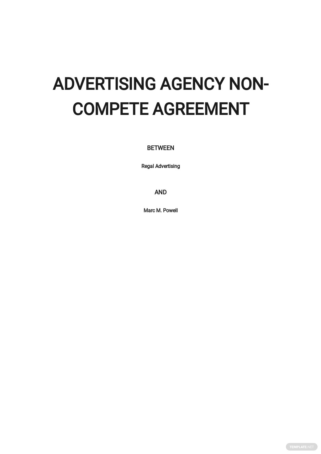 Advertising Agency Non-Compete Agreement Template