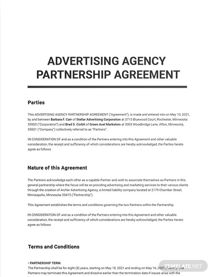 Advertising Agency Partnership Agreement Template