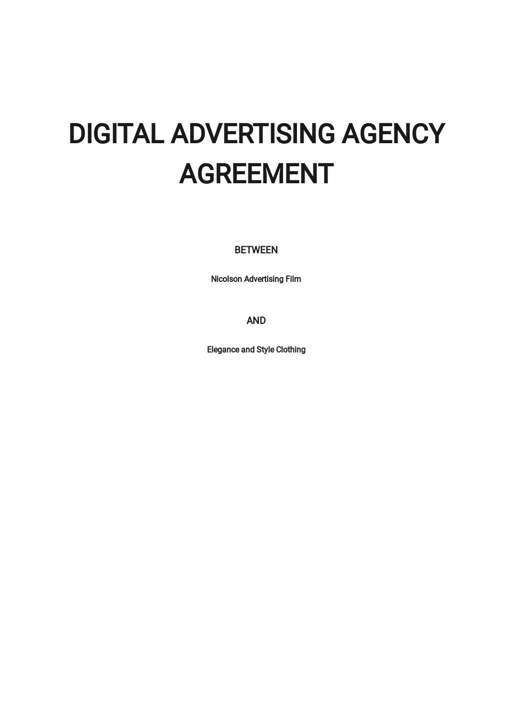 Digital Advertising Agency Agreement Template
