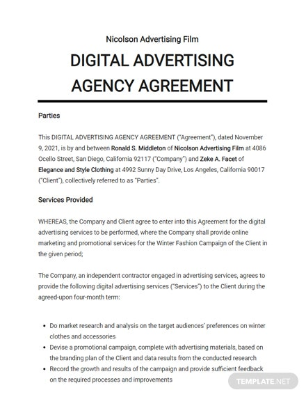Digital Advertising Agency Agreement Template