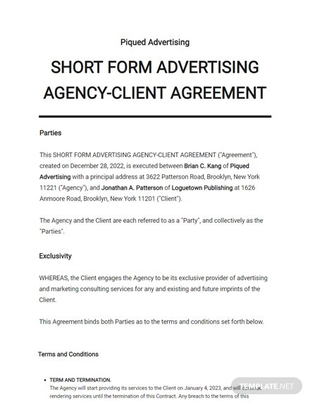 Short Form Advertising Agency-Client Agreement Template