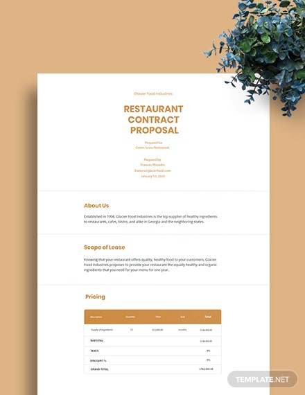 Restaurant Contract Proposal Template