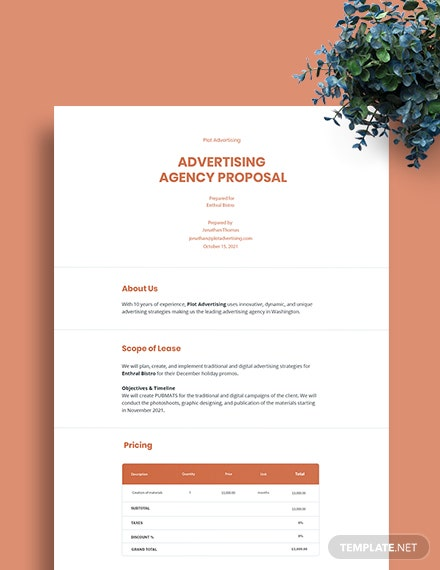 Free Simple Advertising Agency Proposal Template