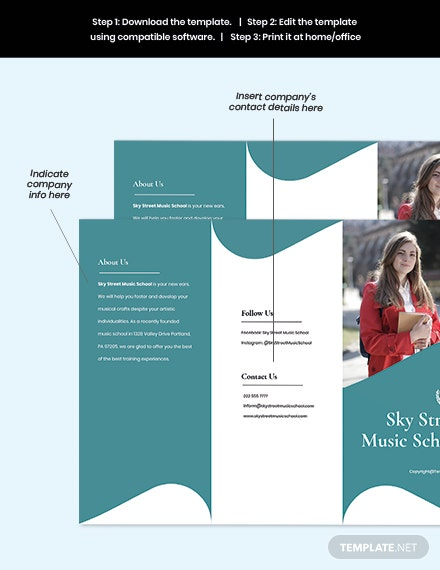 Free Trifold Creative School Brochure Template sample