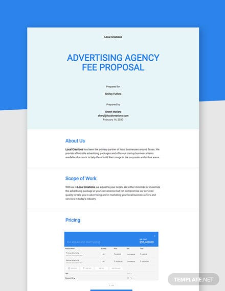 Advertising Agency Fee Proposal Template