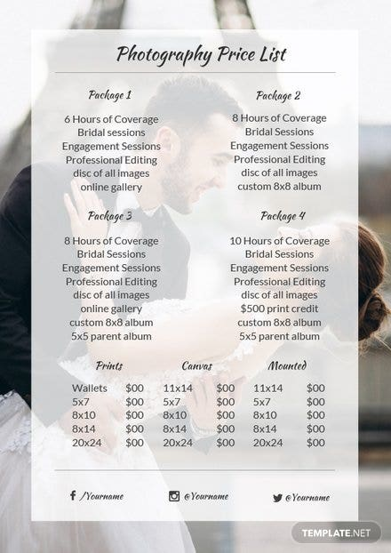 photography price list template in microsoft word apple pages