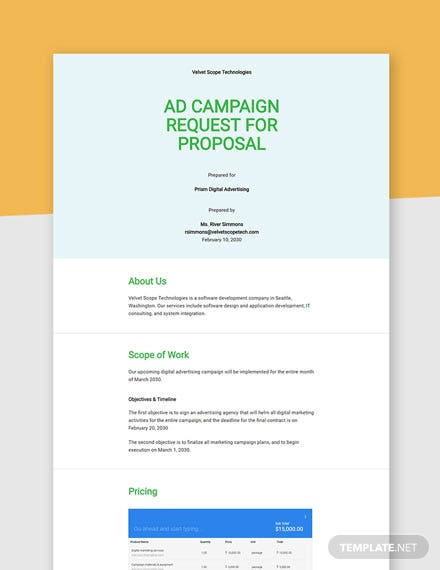 Editable Advertising Agency Request for Proposal