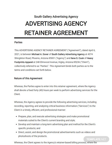 Advertising Agency Retainer Agreement Template