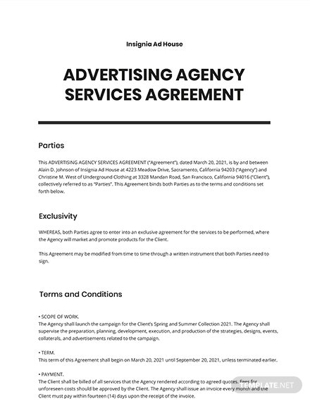 Advertising Agency Services Agreement Template
