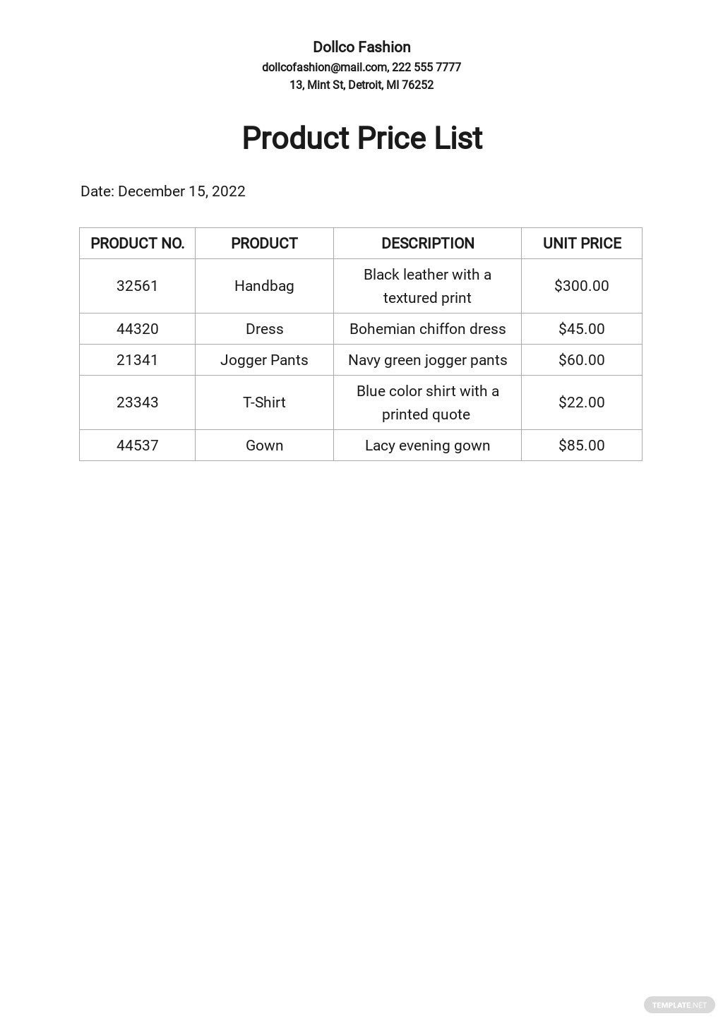 Free Product Price List Template