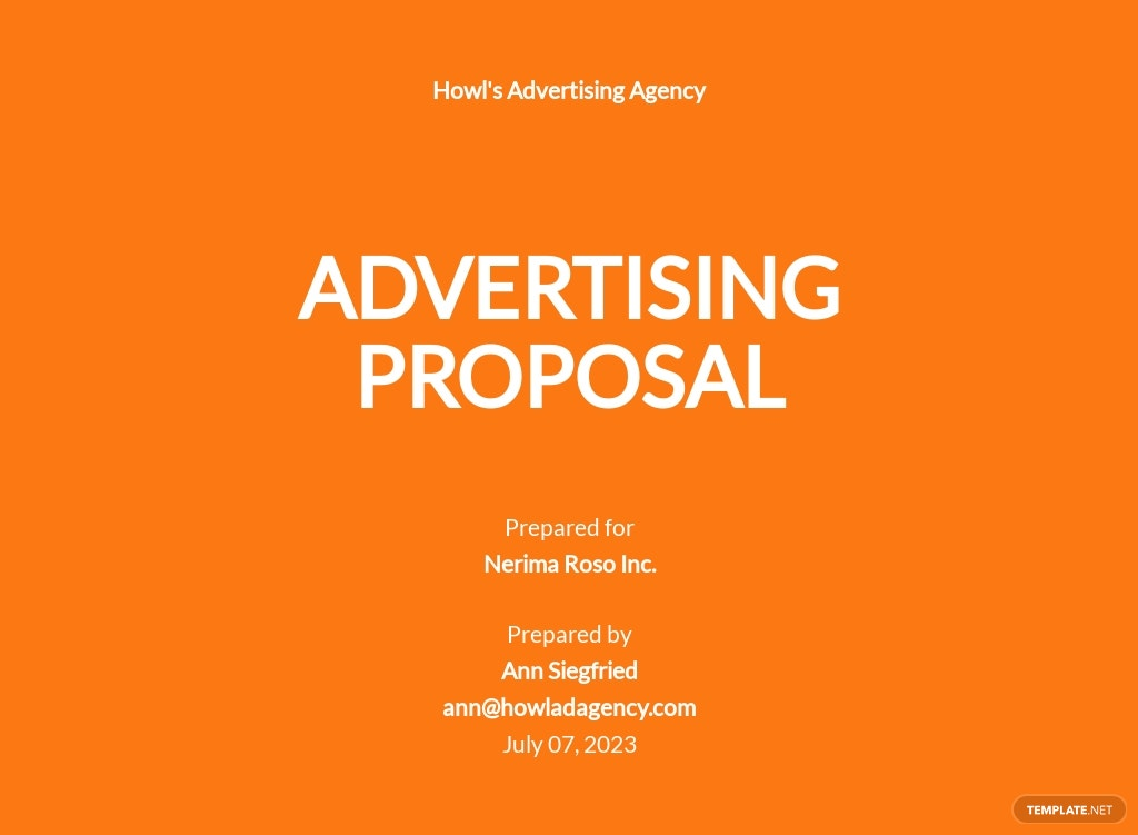 Basic Advertising Agency Proposal Template